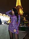 Короткое вечернее платье из голографического трикотажа с длинным рукавом (р. S, M) 71plt1728, фото 3