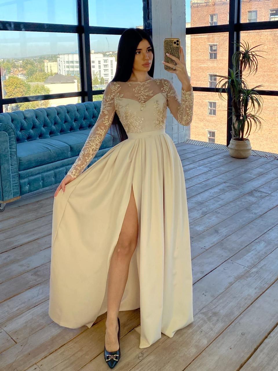 Длинное вечернее платье с кружевным верхом и расклешенной юбкой с разрезом (р. S, M) 66plt1761Е