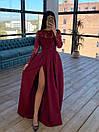 Длинное вечернее платье с кружевным верхом и расклешенной юбкой с разрезом (р. S, M) 66plt1761Е, фото 3