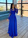Длинное вечернее платье с кружевным верхом и расклешенной юбкой с разрезом (р. S, M) 66plt1761Е, фото 4