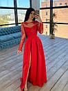 Длинное вечернее платье с кружевным верхом и расклешенной юбкой с разрезом (р. S, M) 66plt1761Е, фото 5