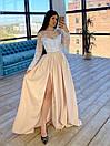 Длинное вечернее платье с кружевным верхом и расклешенной юбкой с разрезом (р. S, M) 66plt1761Е, фото 6