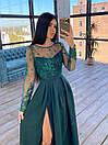 Длинное вечернее платье с кружевным верхом и расклешенной юбкой с разрезом (р. S, M) 66plt1761Е, фото 7