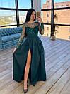 Длинное вечернее платье с кружевным верхом и расклешенной юбкой с разрезом (р. S, M) 66plt1761Е, фото 8