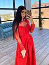 Длинное вечернее платье с кружевным верхом и расклешенной юбкой с разрезом (р. S, M) 66plt1761Е, фото 9