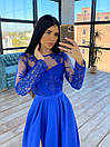 Длинное вечернее платье с кружевным верхом и расклешенной юбкой с разрезом (р. S, M) 66plt1761Е, фото 10