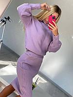 Вязаный юбочный костюм женский с юбкой карандаш и свободным свитером (р. 42-46) 22mko486, фото 1