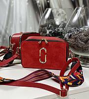 Женская сумка на широком ремне сумочка брендовая модная молодежная красная замша+экокожа, фото 1