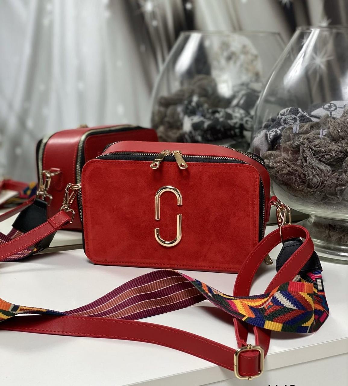 Женская сумка на широком ремне сумочка брендовая модная молодежная красная замша+экокожа
