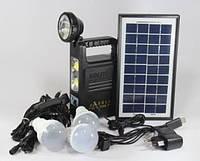 Фонарик с солнечной батареей,USB порт   3 подвесные лампочки  USB кабель с переходниками  GD 8033