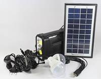Фонарик с солнечной батареей, USB порт, 2 подвесные лампочки, USB кабель с переходниками, GD 8037