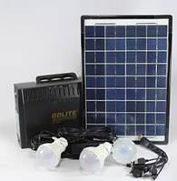 Фонарик с солнечной батареей, USB порт, 3 подвесные лампочки, USB кабель с переходниками GD 8012