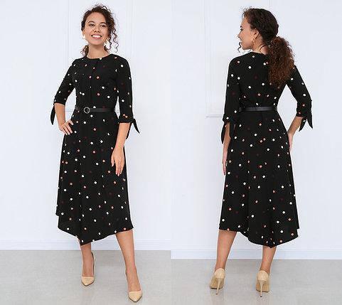 Платье женское в горошек легкое летнее с поясом миди, фото 2