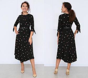 Платье женское в горошек легкое летнее с поясом миди