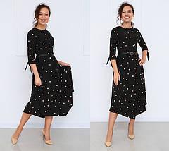 Платье женское в горошек легкое летнее с поясом миди, фото 3