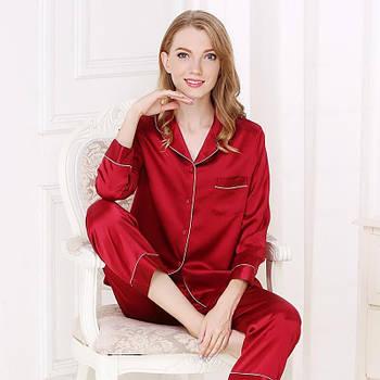 Пижама женская шелковая с брюками красная  (размер XS S M L XL XXL)