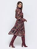 Шифоновое платье-миди с длинным рукавом, фото 4