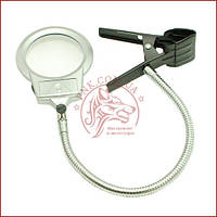 Лампа лупа настільна для читання і вишивання MG15120-A лінза 90мм акрил, прищіпка, LED підсвічування