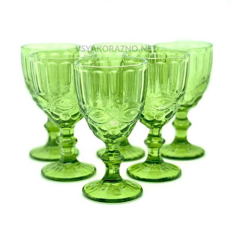 Стеклянный бокал для вина и шампанского 300 мл, зеленый