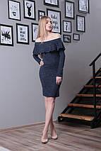 Женское платье миди из ангоры с волан в зоне декольте, фото 3
