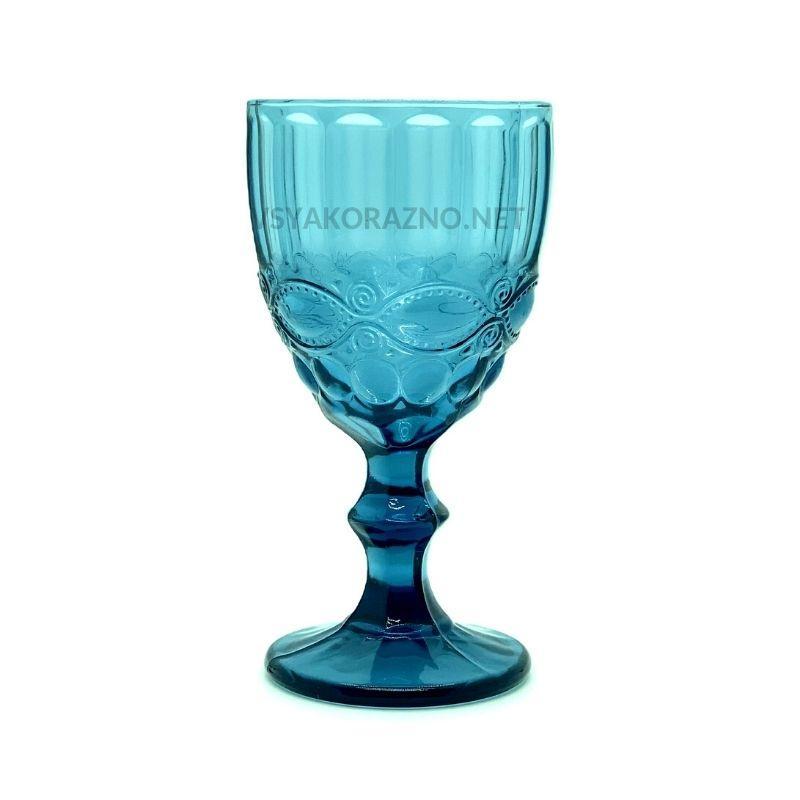 Стеклянный бокал для вина и шампанского 300 мл, синий