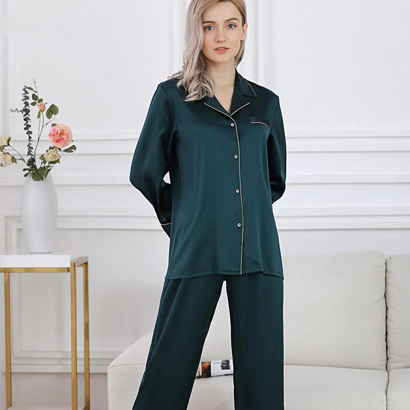 Пижама женская  шелковая зеленая (размеры 40-54 XS-XXXL)