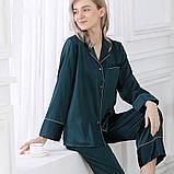 Пижама женская  шелковая зеленая (размеры 40-54 XS-XXXL), фото 2