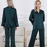 Пижама женская  шелковая зеленая (размеры 40-54 XS-XXXL), фото 3