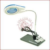Лупа-лампа настільна YIHUA-628A, LED підсвічування 40светод., 5Х +10Х, діам.-90мм, 220V
