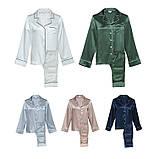 Пижама женская  шелковая зеленая (размеры 40-54 XS-XXXL), фото 4