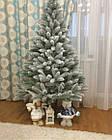 Елка Президентская заснеженная 2.1 м искусственная литая с подставкой, новогодняя снежная литая ель, фото 9