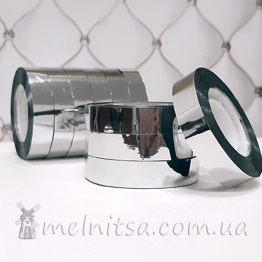 Скотч декоративный 12 мм, серебристый