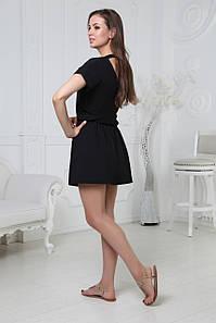 Платье летнее короткое с поясом на спине вырез