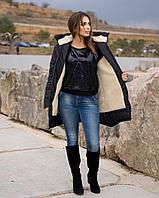 Куртка женская зимняя удлиненная на овчине большого размера