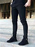 Модные повседневные мужские брюки с карманами, однотонные черные