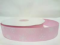 """Лента репсовая на метраж с рисунком 2,5см розовая """"Снежинки"""""""