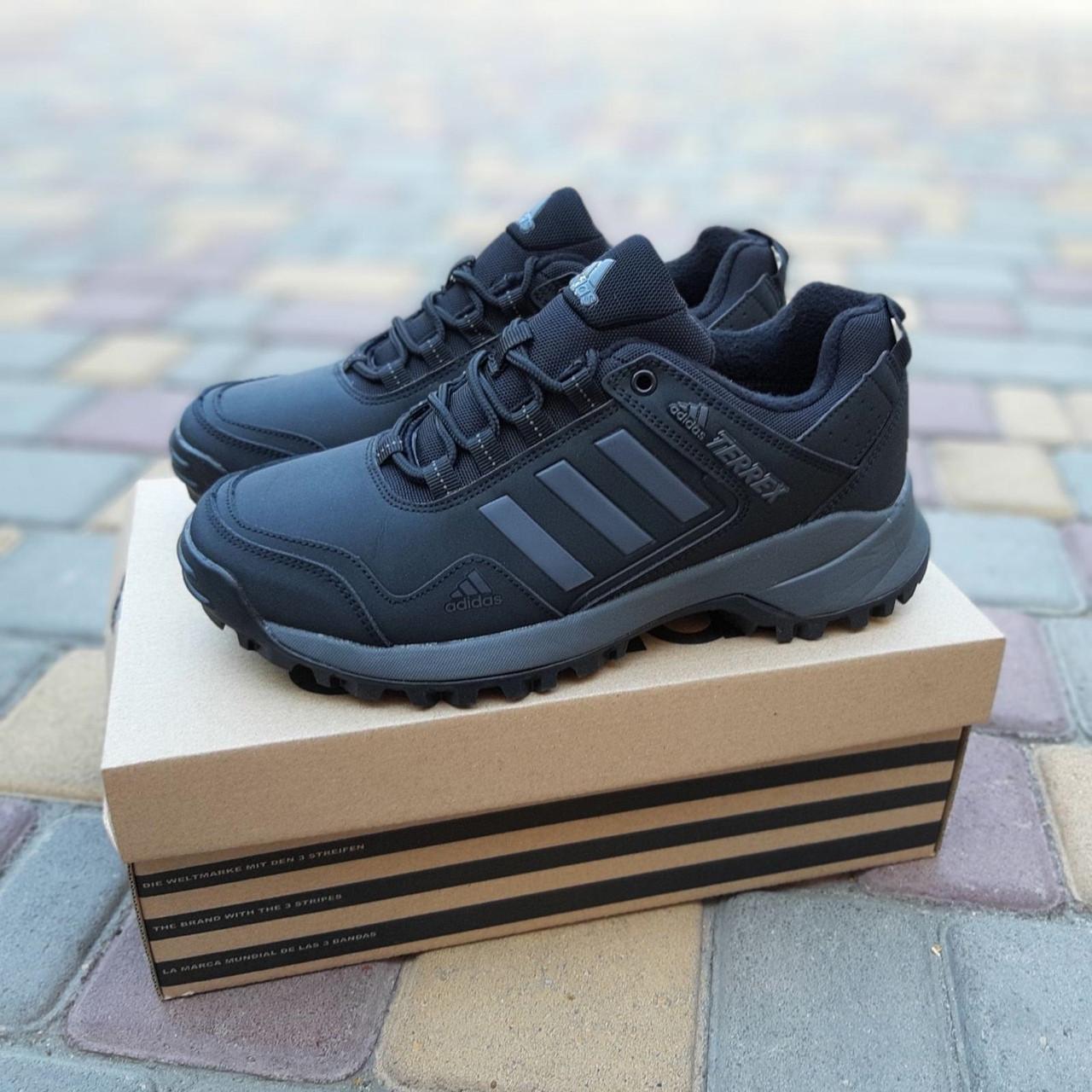 Чоловічі зимові кросівки Adidas Terrex (чорно-сірі) Термо 3515