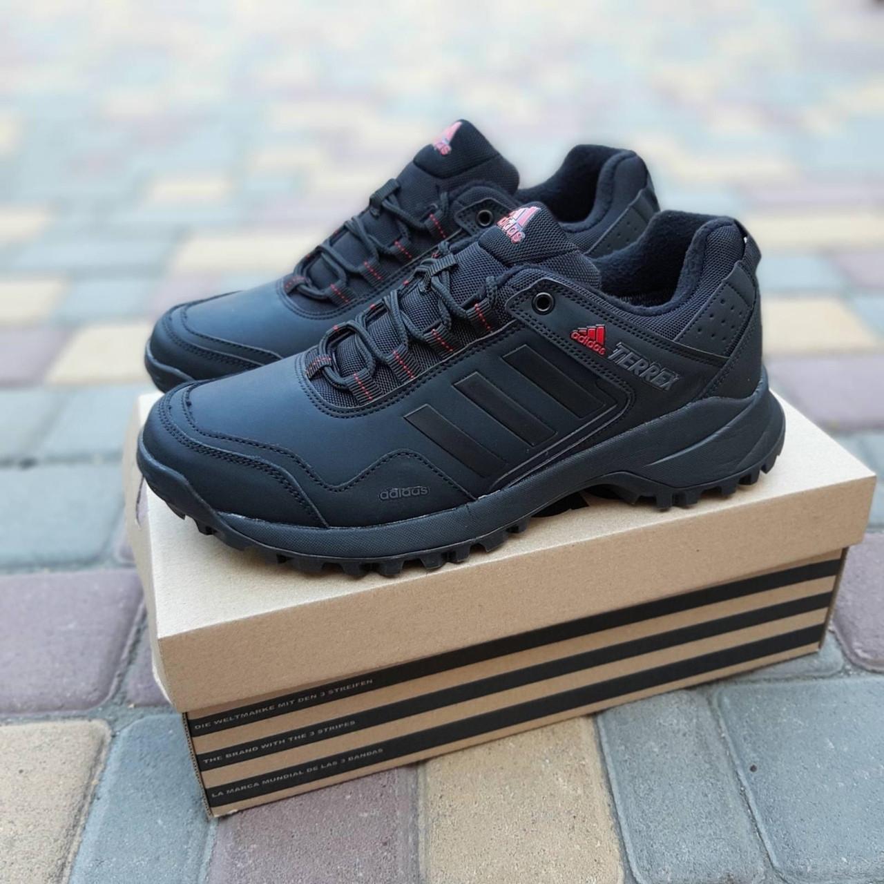 Мужские зимние кроссовки Adidas Terrex (черно-красные) Термо 3514