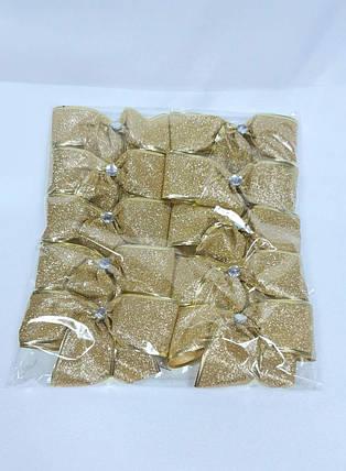 Бант новогодний золотой 10 см, фото 2