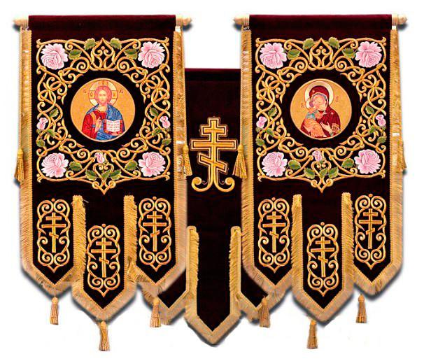 Хоругви для храмів великі вишивка на оксамиті термодрук ікони 120х80см