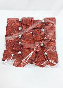 Бант новогодний красный 10 см