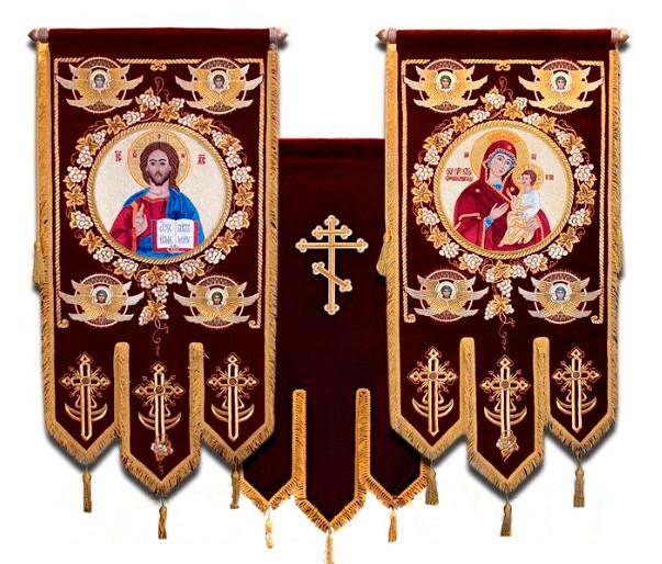 Тканинні Хоругви малі з вишивкою на оксамиті, термодрук ікони 85х50см