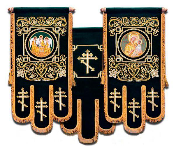 Тканинні церковні Хоругви з вишивкою на оксамиті, термодрук ікони 85х50см