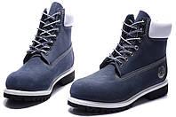 Ботинки мужские Timberland 6 inch Blue White Boots (тимберленд) синие