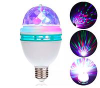 Светодиодная вращающаяся диско лампа 3Вт E27 RGB, 140х80мм