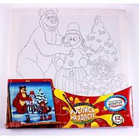 Набор для творчества Раскраска на холсте 31Х31см Мишка и Снеговик