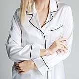 Атласная женская пижама Nimfeya шелковая  белая комплект для дома и сна (размер 40-54 XS-XXXL), фото 2