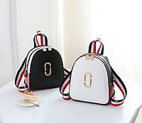 Женский мини рюкзак стильный и модный. Маленький рюкзачок в стиле Marc Jacobs черный красный белый Ф