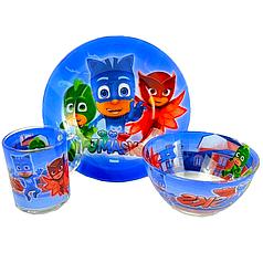Детский набор стеклянной посуды для кормления PJ Masks (Герои в масках) 3 предмета Metr+