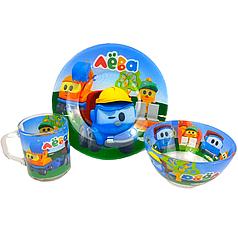 Детский набор стеклянной посуды для кормления Лёва грузовичок 3 предмета Metr+